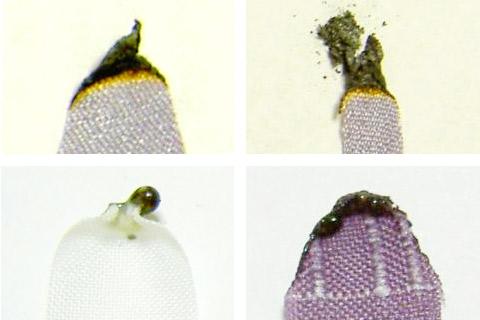 絹とポリエステルの燃焼後の形状