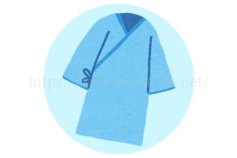 ただし、入院中に着る浴衣は、すぐに前を開けるようになっていて、帯はせず右脇で紐をくくる甚平のようになっているので、外出できる作りになっていません。
