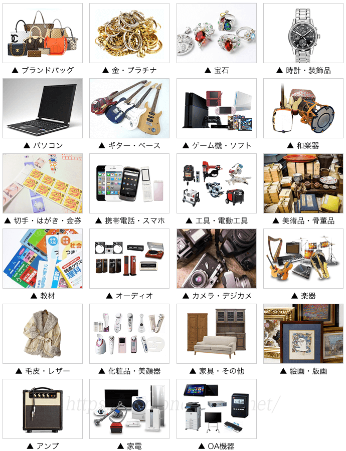 東京相場の買取品目一覧
