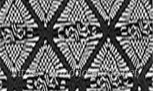 南部古代型染の紋「向鶴」